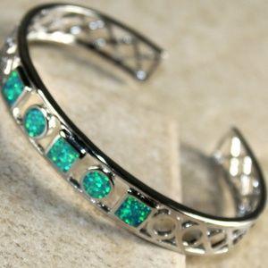 Jewelry - Green Fire Opal Silver Bracelet Cuff